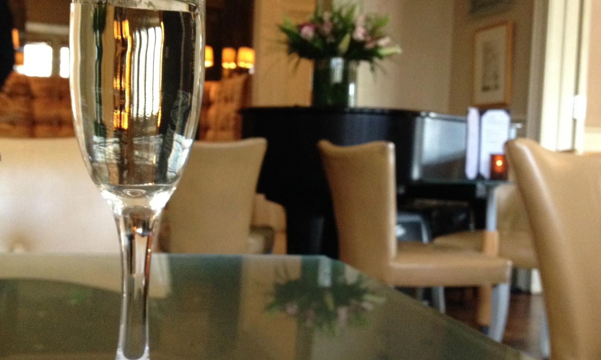Champagne flute at Emeril's Delmonico